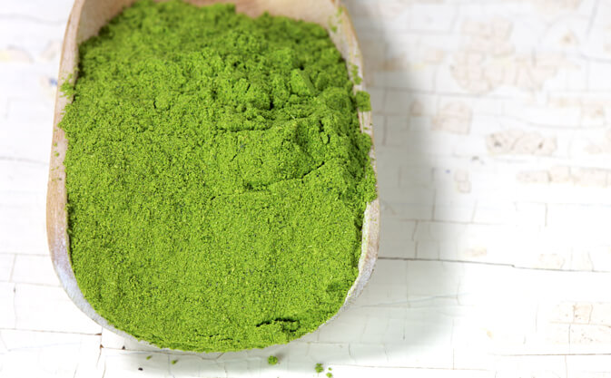 moringa powder on a wooden spoon
